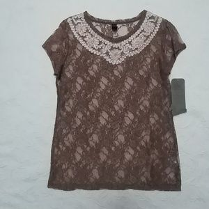 "Brown lace blouse tee ""Awake by OS"" sz XL NWT"